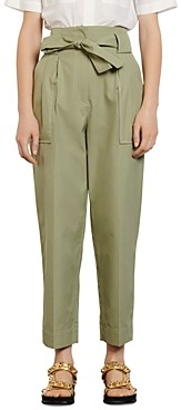 Sandro Liane High-Waist Cotton Pants