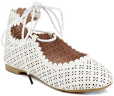 White Perforated Ankle-Tie Flat