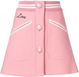 Miu Miu Rib Trim Button Front Mini Skirt