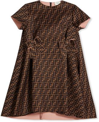 Fendi Girl's FF Neoprene Dress w/ Bows, Size 8-14