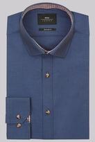 Moss Bros Extra Slim Fit Navy Single Cuff Chambray Shirt