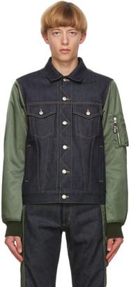 Alexander McQueen Blue and Khaki Denim Hybrid Jacket