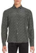 John Varvatos Hypnotic Pattern Silk Sportshirt