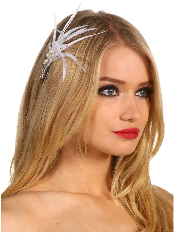 Jane Tran Slim Feather Hair Pin w/ Pearls (Ivory Pearl) - Accessories