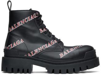 Balenciaga Black and Red Allover Logo Strike Boots