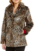 Sanctuary Kate Double Breasted Faux-Fur Leopard Print Jacket
