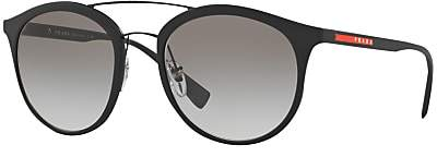 Prada Linea Rossa PS 04RS Oval Sunglasses, Black/Grey Gradient