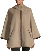 Ellen Tracy Hooded Double-Face Zip-Front Cape