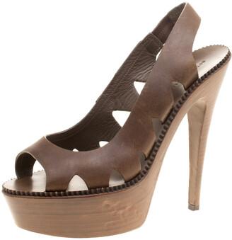 Bottega Veneta Brown Leather Peep Toe Platform Slingback Sandals Size 38.5
