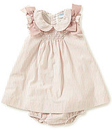 Edgehill Collection Baby Girls Newborn-24 Months Striped Smocked Bow Dress