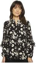 Lauren Ralph Lauren Floral Ruffled Georgette Shirt Women's Clothing