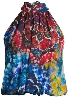 Alice + Olivia Maris Tie-Dye Silk Halter Blouse