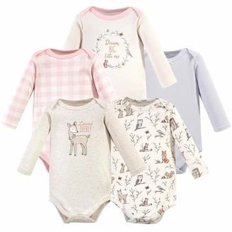 Hudson Baby Girls Unisex Baby Long Sleeve Cotton Bodysuits Gold Unicorn Pack 3-6 Months (6M)