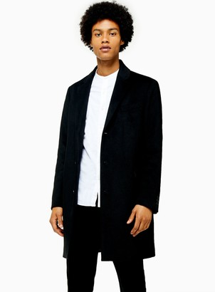 Topman Black Overcoat With Wool