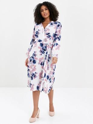 Evans Blossom Print Shirt Dress - Ivory