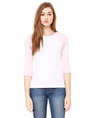 Marky G Apparel Women's Baby Rib 3/4-Sleeve Contrast Raglan T-Shirt