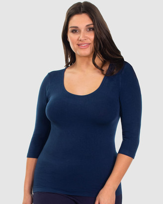 B Free Intimate Apparel - Women's Navy Long Sleeve T-Shirts - Curvy Bamboo 3-4 Sleeve Top - Size One Size, S/M at The Iconic