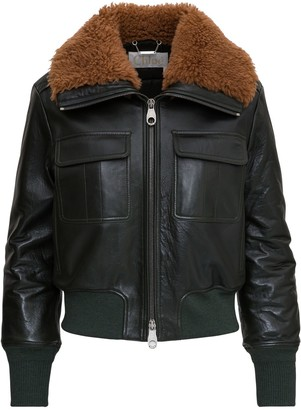 Chloé Leather Aviator Jacket With Shearling Collar