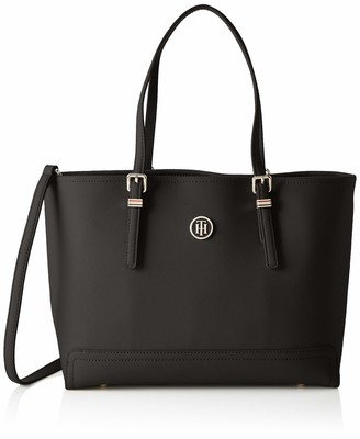 Tommy Hilfiger Womens Honey Med Tote Canvas and Beach Tote Bag Black (Black) 40 x 28.80 x 14.80 cm