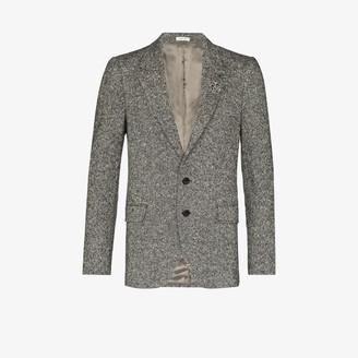 Alexander McQueen Brooch Embellished Tweed Blazer