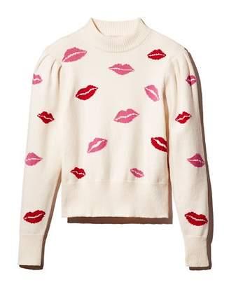 Kate Spade Mock-Neck Lip Print Sweater