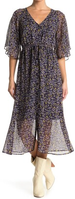 Lost + Wander Hibiscus Floral Chiffon Midi Dress