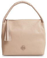 Tory Burch Taylor Leather Hobo Bag - Beige