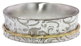 David Tishbi Paisley Sterling Silver Band with Thin Yellow Gold Spinner