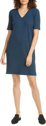 Eileen Fisher V-Neck Ribbed Knit Dress