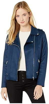 Liverpool Moto Zip Jacket in Microsuede (Navy) Women's Clothing