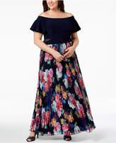 Xscape Evenings Plus Size Pleated Floral Off-The-Shoulder Gown