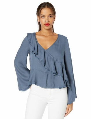 Cupcakes And Cashmere Women's Clement Ruffled Longsleeve Bluse with Trim Details