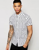 Asos Skinny Shirt With Palm Tree Print In Short Sleeve