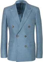 Alexander McQueen Blue Slim-Fit Double-Breasted Mohair and Silk-Blend Suit Jacket