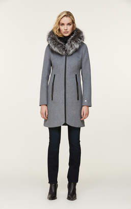 Soia & Kyo CHARLENA slim-fit wool coat with removable silver fur
