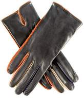 Black Leather Gloves with Multi Tone Detail - Silk Lined