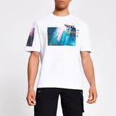River Island Mens White printed boxy fit T-shirt