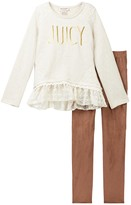 Juicy Couture Heathered French Terry Ruffle & Lace Bottom Tunic & Stretch Faux Suede Legging Set (Big Girls)