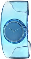 Issey Miyake Women's 'O' Quartz Stainless Steel and Plastic Casual Watch, Color:Blue (Model: SILAW005)