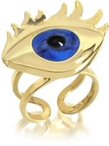 Bernard Delettrez Blue Enamel Eye Bronze Ring