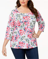 Karen Scott Plus Size Scoop-Neck Printed Top, Created for Macy's