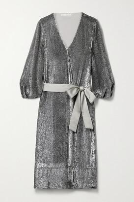 Alice + Olivia Anne Satin-trimmed Sequined Crepe De Chine Wrap Midi Dress