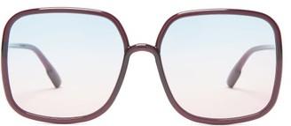 Christian Dior Diorsostellaire1 Square Acetate Sunglasses - Womens - Burgundy Multi