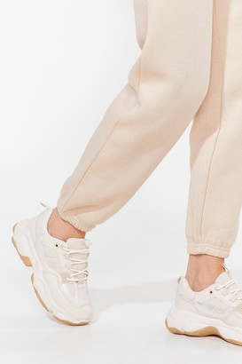 Nasty Gal Womens Run It By Us Faux Leather Chunky Sneakers - Nude