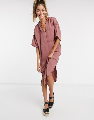 Vero Moda satin midi dress with v neck in rose