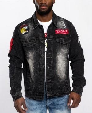 Southpole Men's Leopard Applique Patch Denim Jacket