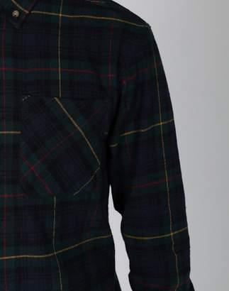 The Idle Man - Brushed Flannel Tartan Shirt Navy