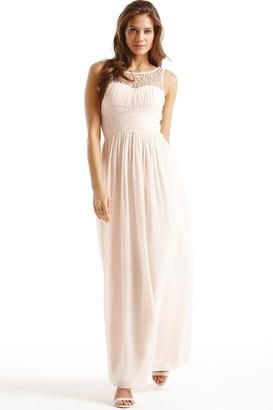 Little Mistress Nude Embellished Detail Maxi Dress