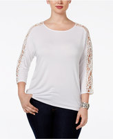 INC International Concepts Plus Size Crocheted-Sleeve Top, Only at Macy's