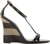 Burberry Black Leather Raffia Sidworth Sandals